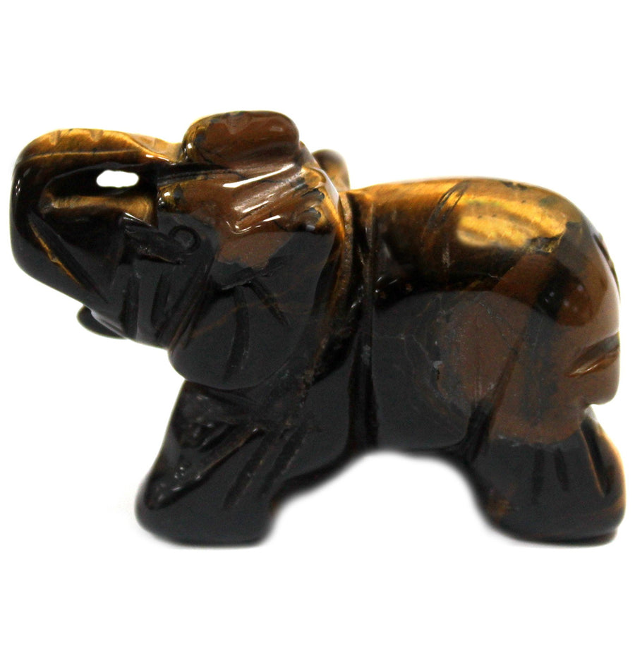 Handmade Elephant Carved Gemstone - Tiger Eye