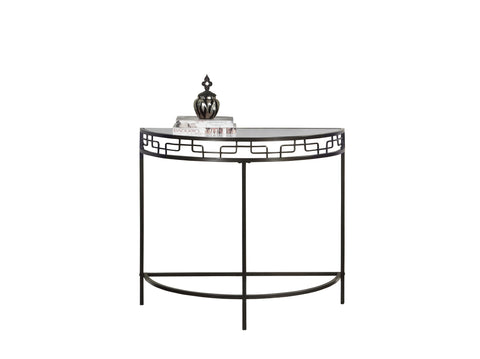 "Monarch I 2113 Accent Table - 36""L / Chocolate Brown Metal Hall Console"