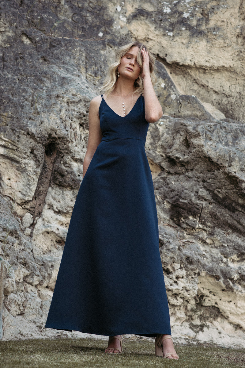Alyssa A-Line Dress - Navy Duchess Satin