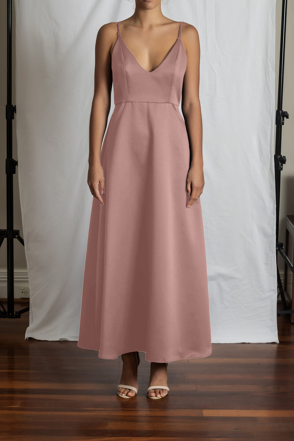 Alyssa A-Line Dress - Dusty Pink Duchess Satin