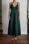 Alyssa A-Line Dress - Emerald Duchess Satin