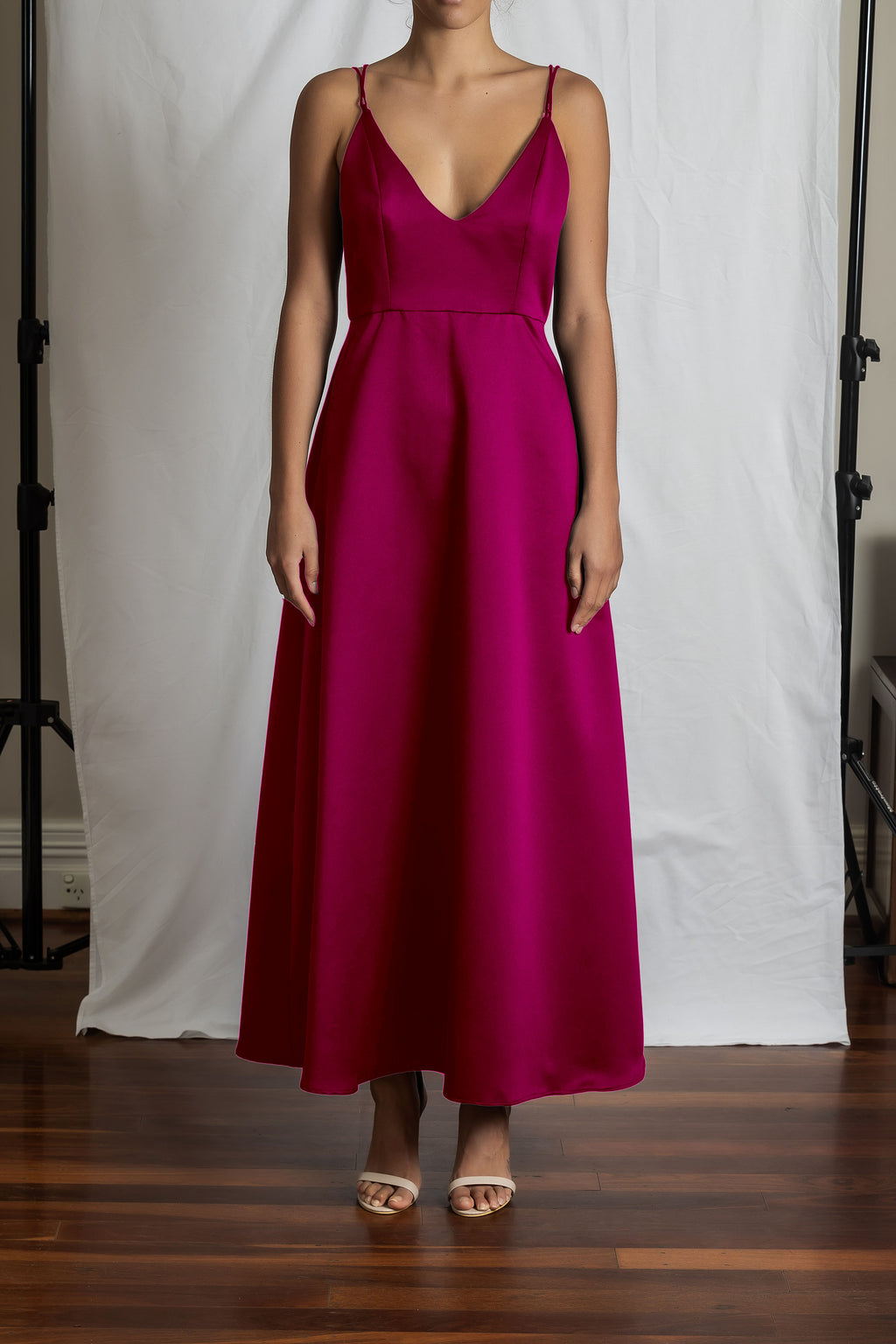 Alyssa A-Line Dress - Magenta Duchess Satin