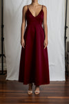 Alyssa A-Line Dress - Wine Duchess Satin
