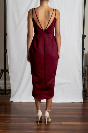 Alyssa Drape Dress - Wine Duchess Satin