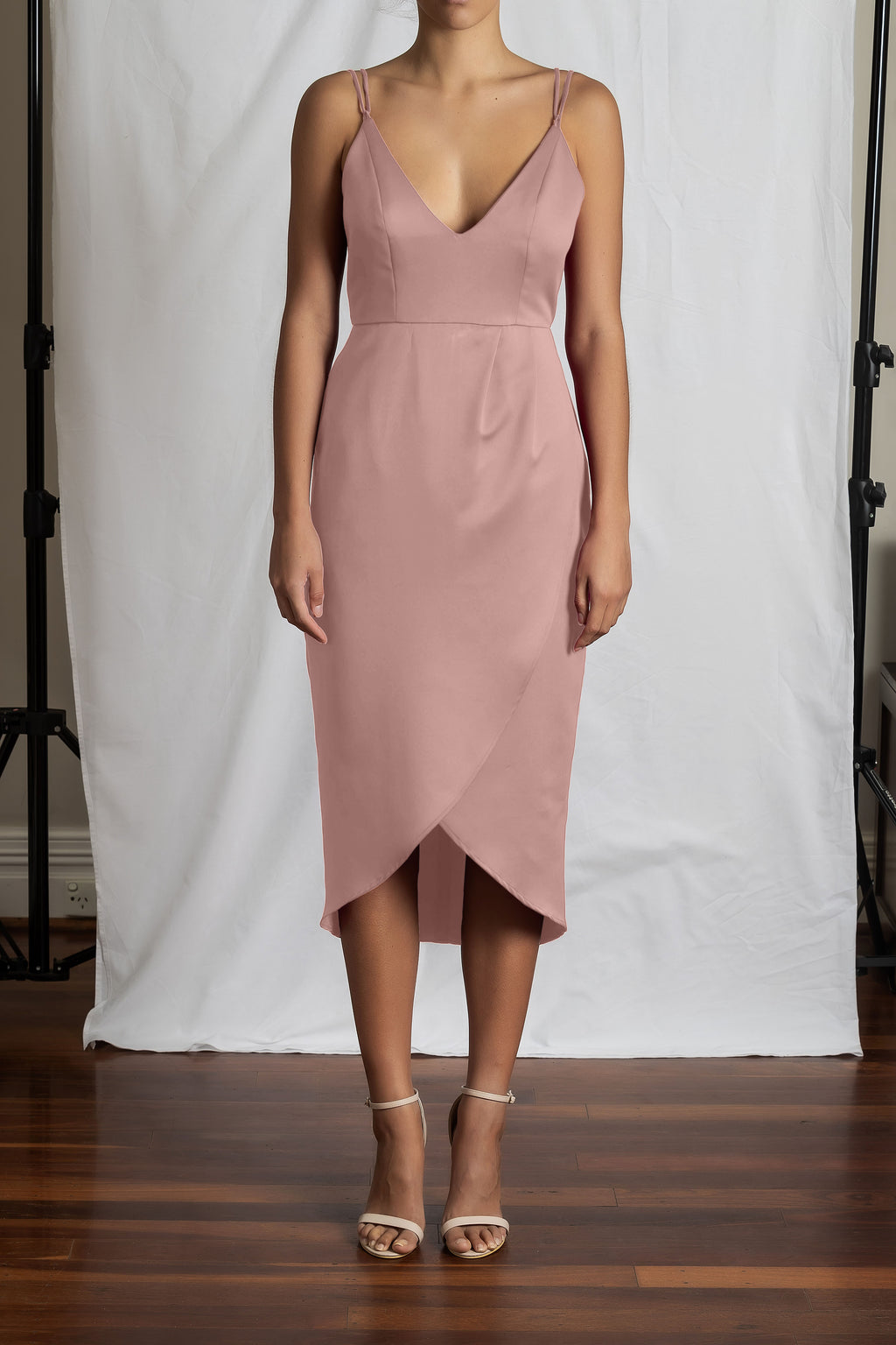 Alyssa Drape Dress - Dusty Pink Duchess Satin