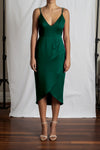 Alyssa Drape Dress - Emerald Duchess Satin