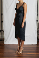 Alyssa Drape Dress - Navy Duchess Satin