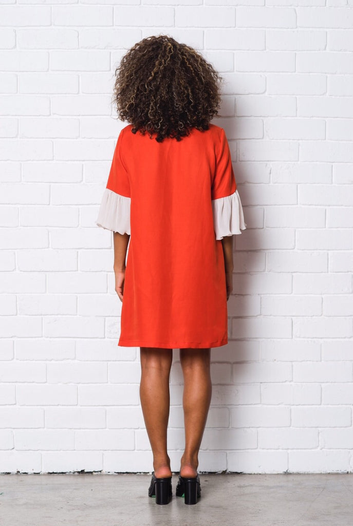 Flare Dress, red v-neck shift dress with contrast frilled sleeves