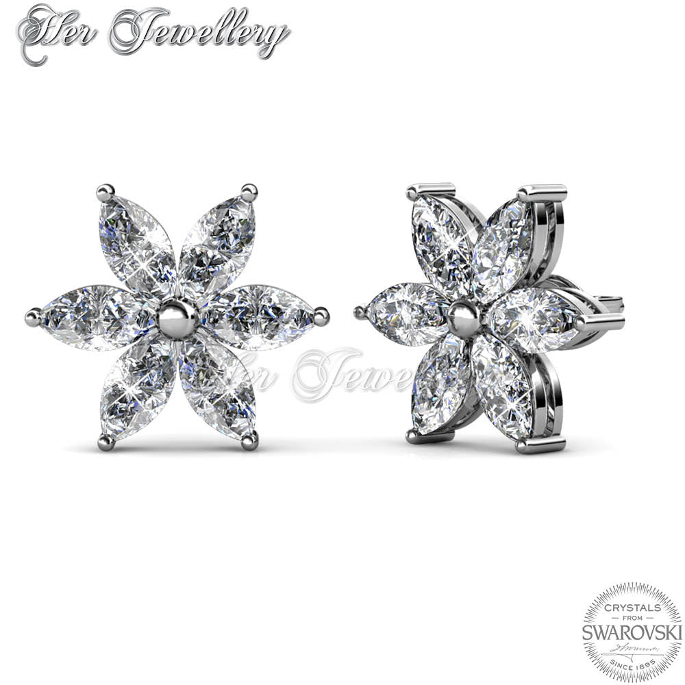 22f37f9a2 Swarovski Crystals Petal Flower Earrings (White Gold) - Her Jewellery ...