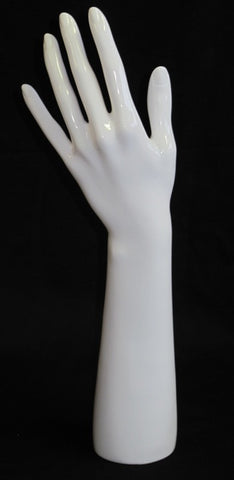 Female Left Display Hand White Gloss - extended arm