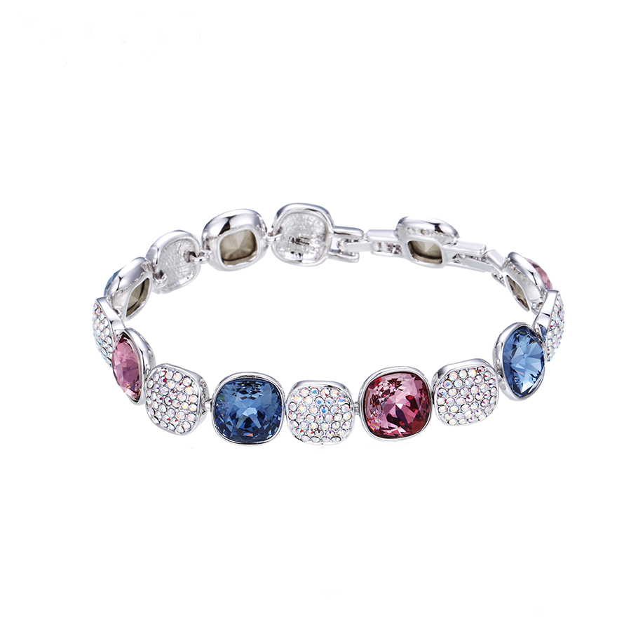 rhodium plated bracelet wih swarovski elements® crystals
