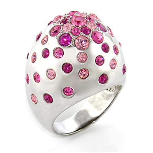 Pink Rhodium Star Ring