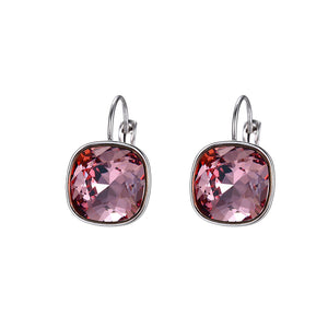 swarovski square silver earrings