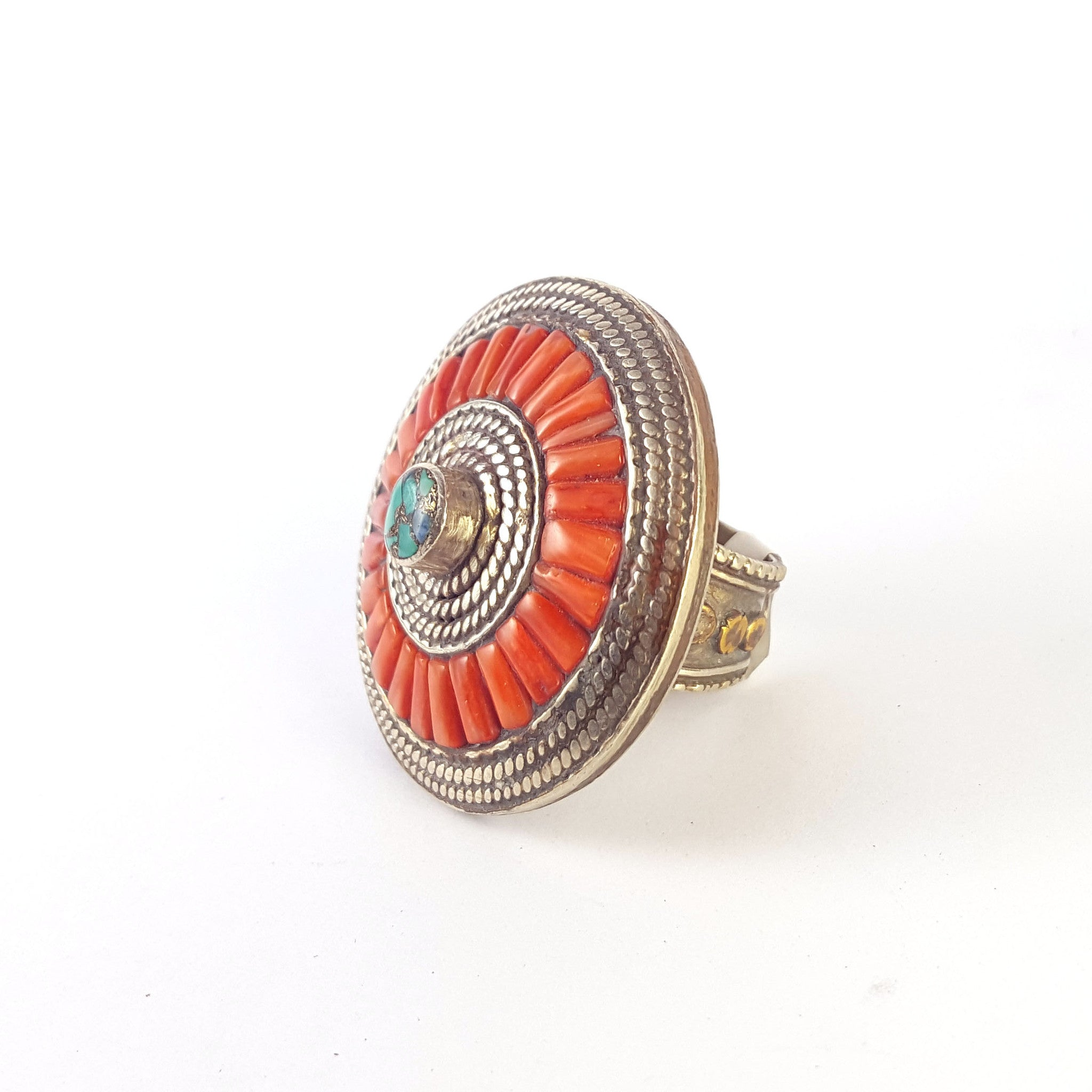 turquoise and coral ring made with bronze