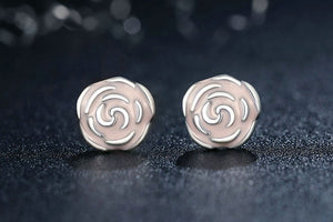 Rose silver earrigns