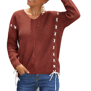 Women's Cross Back Sweater Solid Color V-Neck Knitwear Casual Knit Pullover Tops Long Sleeve Bat Wool Sweather
