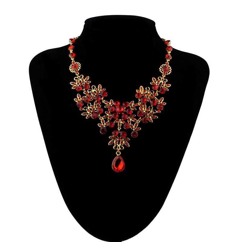 Big Crystal Rhinestone Necklace and earring set