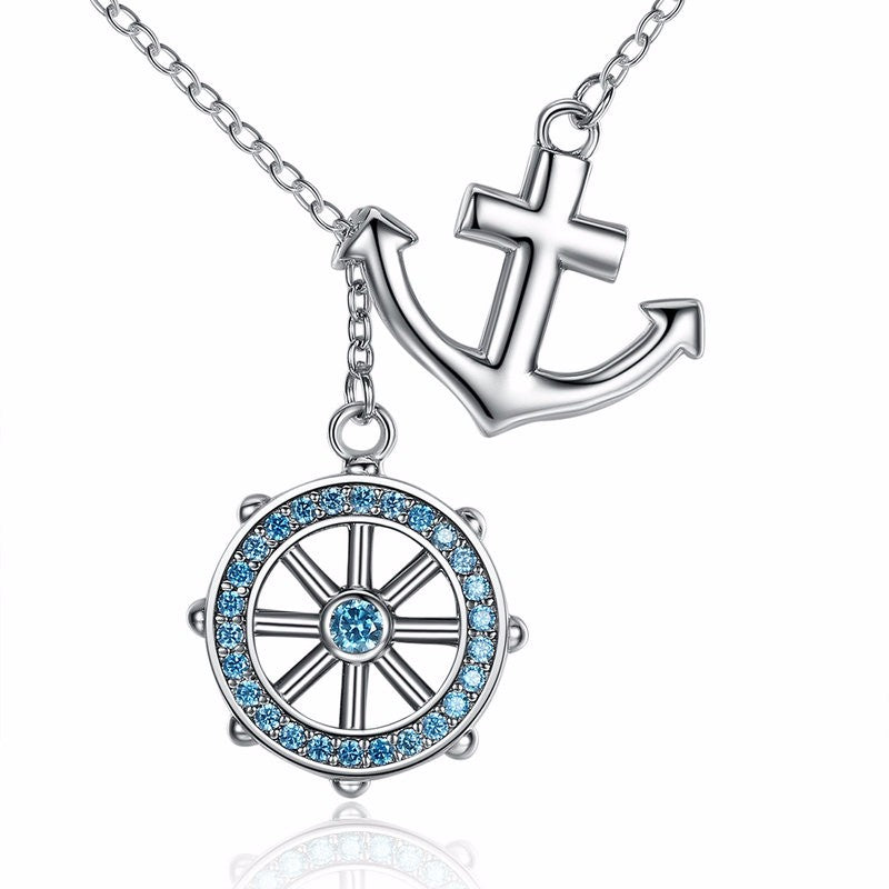 Blue Anchor & Rudder Necklace
