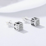 dice silver earrings