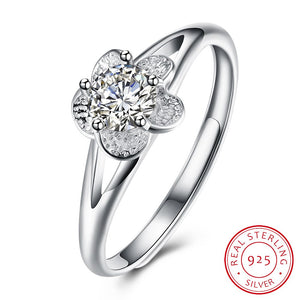 925 Sterling Silver flower fashion ring