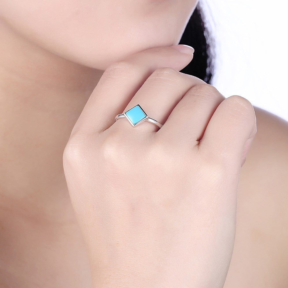 square turquoise ring in 925 sterling silver