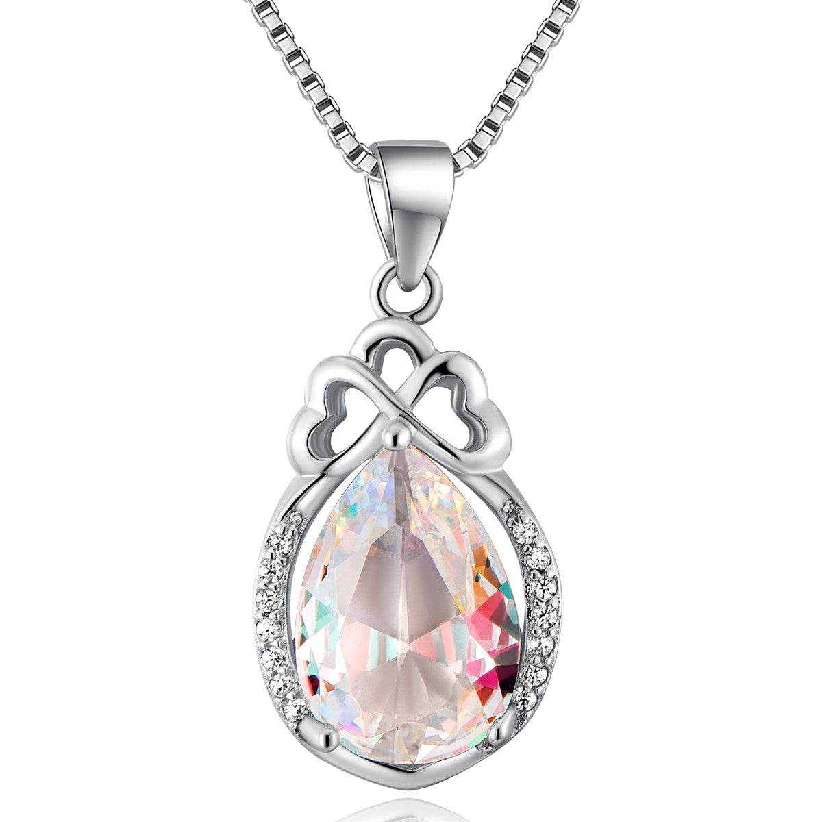 drop necklace on srterling silver and swarovski elements