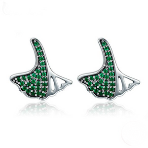 Green fower silver earrings