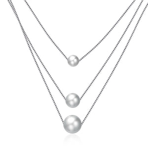 S925 Silver Necklace Three Pearl Necklace