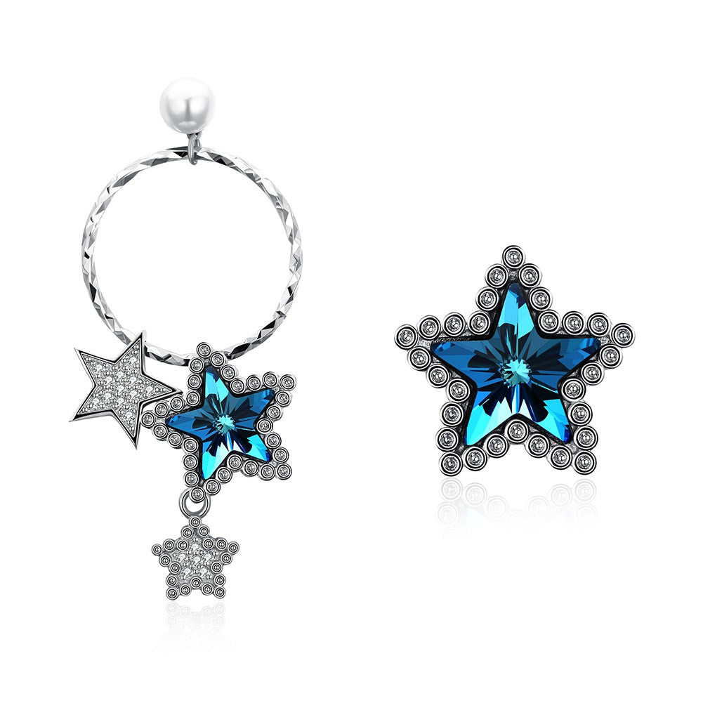 silver star earringins with swarovski®