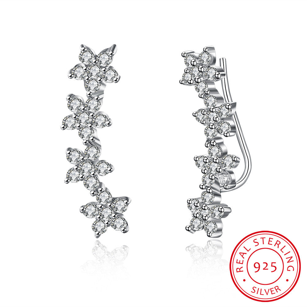 S925 Silver Earrings Flower Ear Hook