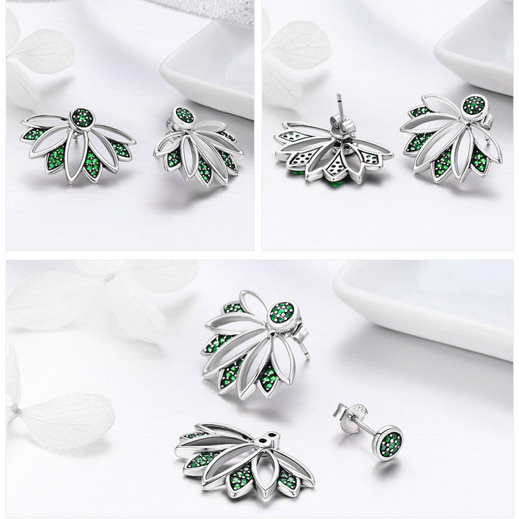 green flower silver earrings