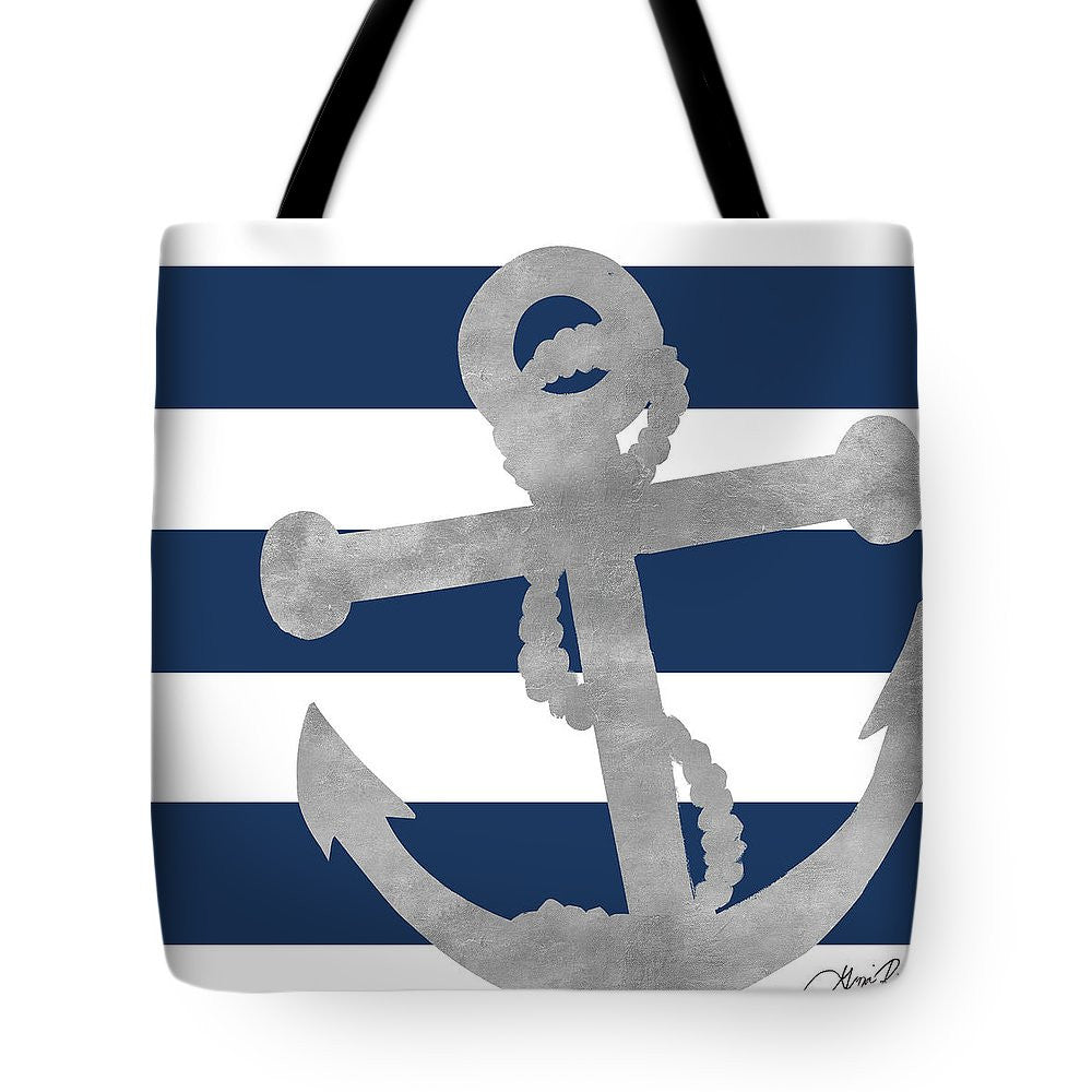 Silver Blue Stripe I Tote Bag