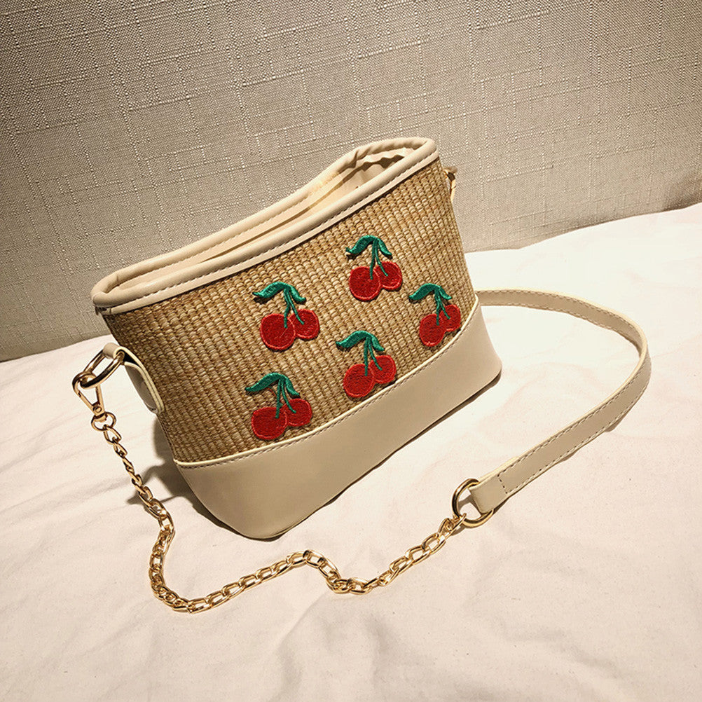fruits Straw Woven Shoulder Bag
