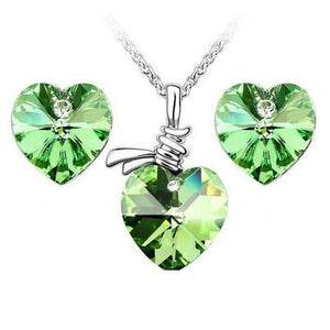 Heart necklace set with swarovski elements