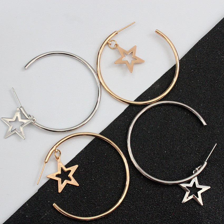 Hoop earrings Stars Earrings,