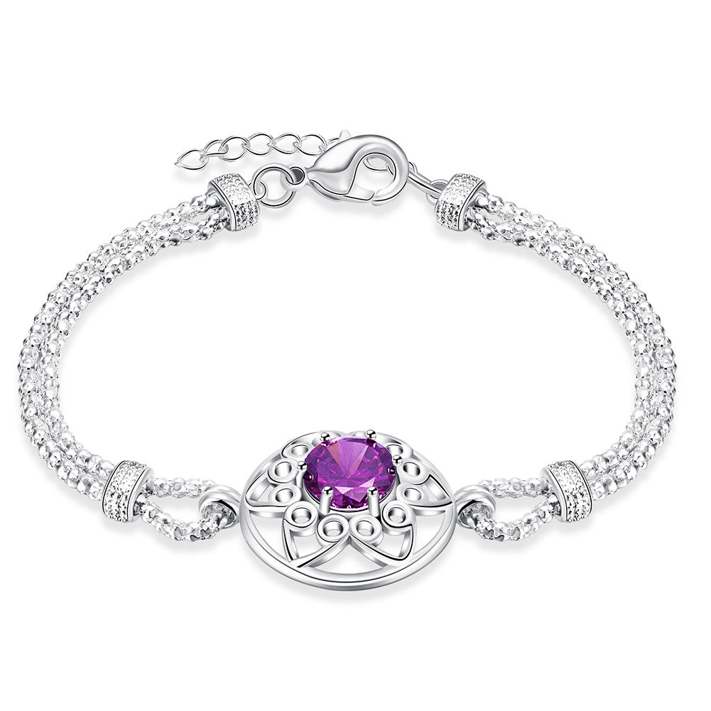 rhodium bracelet with swarovski crystal