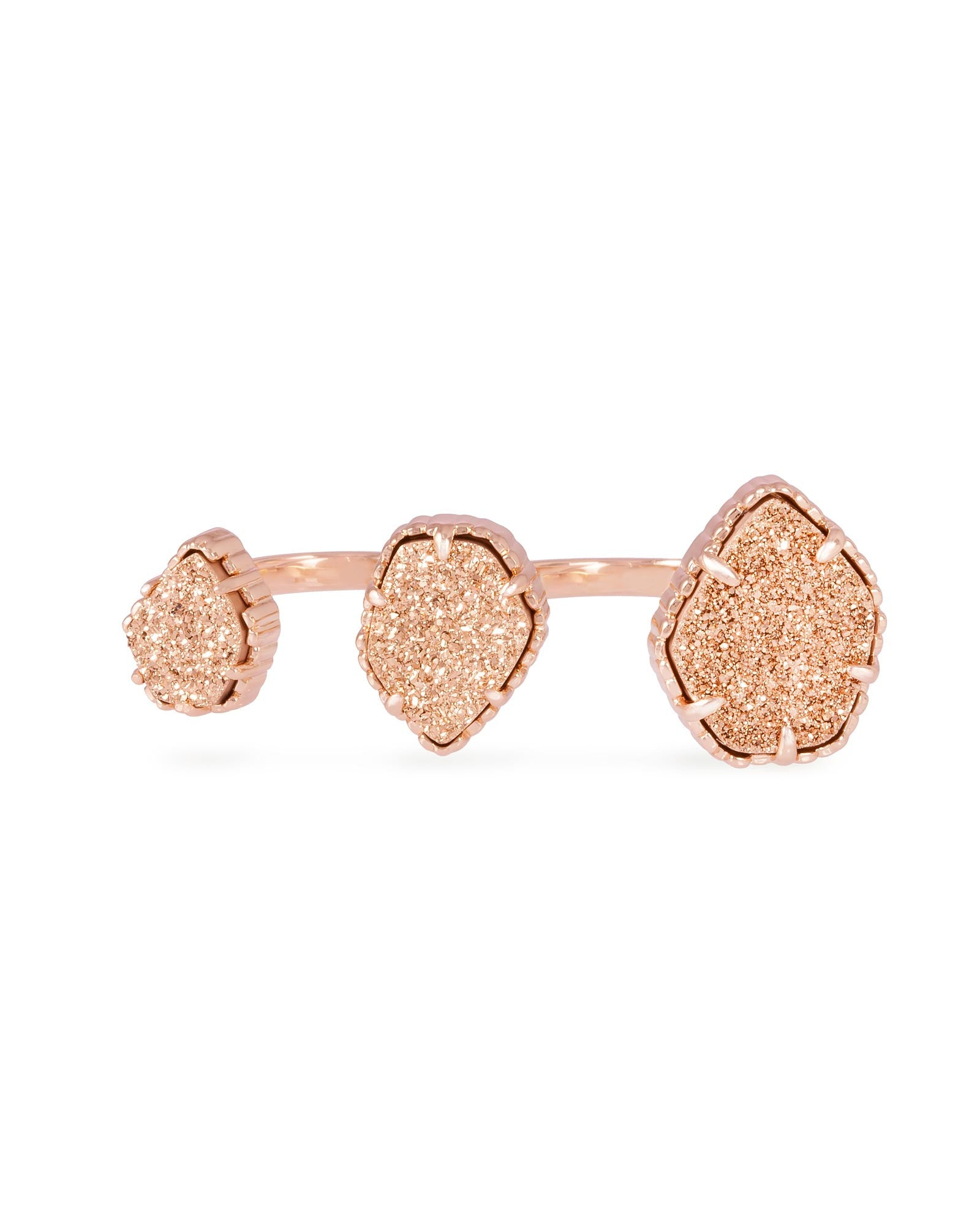Rose Gold Plated Plated with Orange Druzy Stone Knuckle Ring