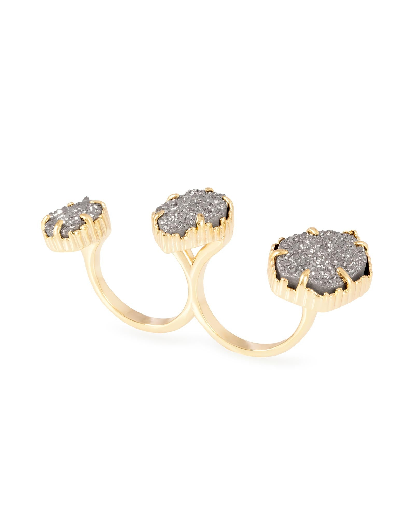 Gold Plated with Grey Druzy Stone Knuckle Ring