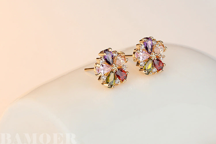 flower golden earrings