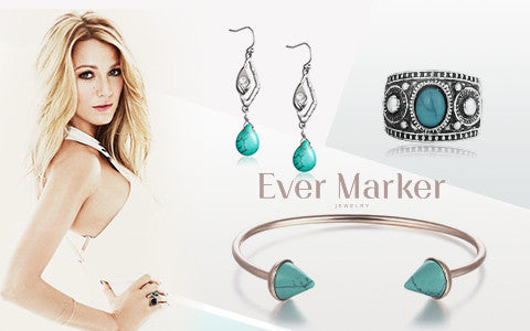 Get Blake Lively's similar turquoise jewelry