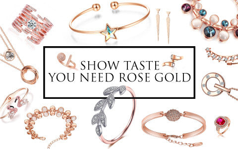 Combine different rose gold jewelry to create the perfect look