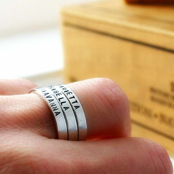 Personalized Sterling Silver Hand Stamped Unisex Ring Set (Three Pieces)