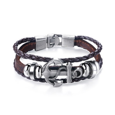 Alloy Sword Brown Leather Weave Men Bracelet