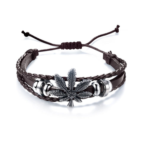 Marijuana Weed Leaf Leather Weave Men Bracelets