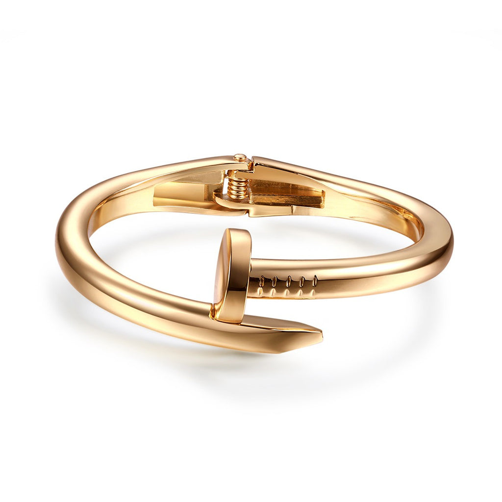Gold Nail Alloy Women Bangle Bracelets Adjustable