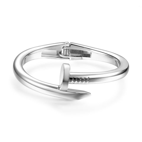 Silver Nail Alloy Women Bangle Bracelets Adjustable