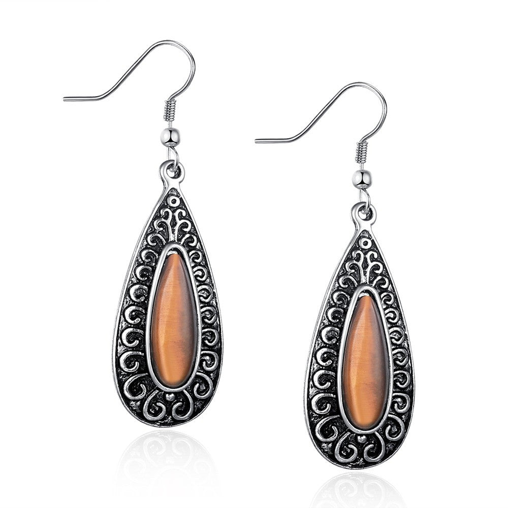 Vintage Amber Alloy Drop Earrings