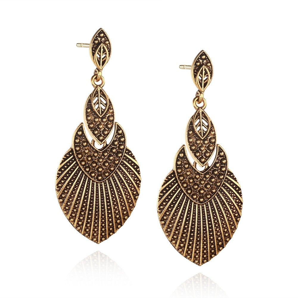 Gold Leaf Women Drop Earrings Antique