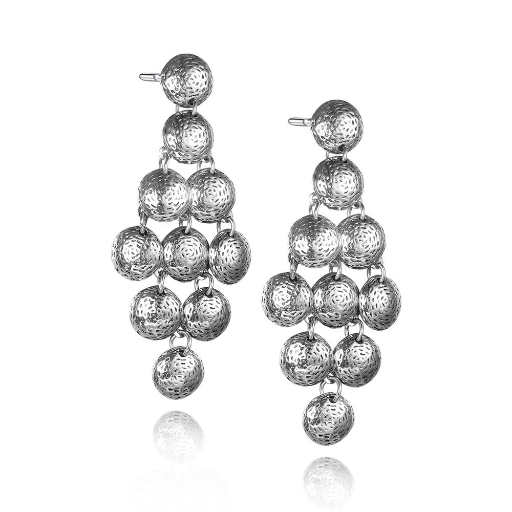 Geometric Round Silver Women Drop Earrings
