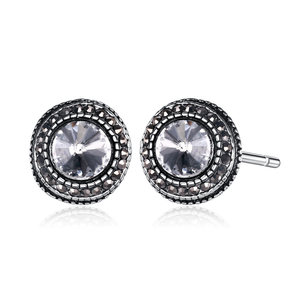 Women's Stud Earrings Daily Round Cubic Zirconia Alloy Silver